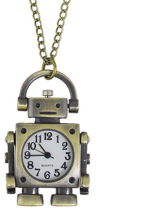Fashion Cute Robot Pocket Watch with Long Chain - multicolor