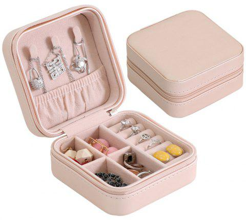 Mini Jewelry Ring Box Cabinet Armoire Portable Organizer Case Travel Storage - KHAKI ROSE