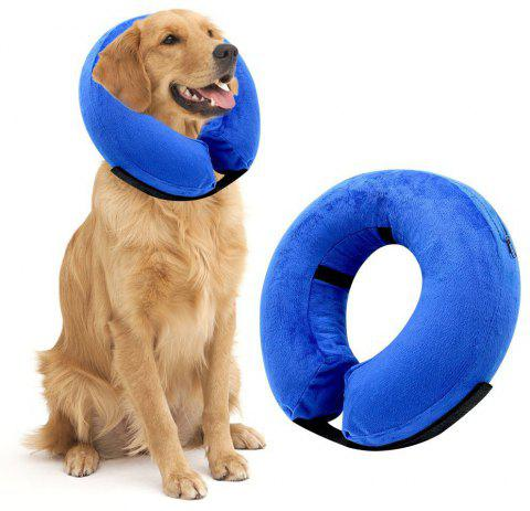 Adjustable Soft Pet Recovery Protective Inflatable Cone Collar for Dogs and Cats - BLUE S