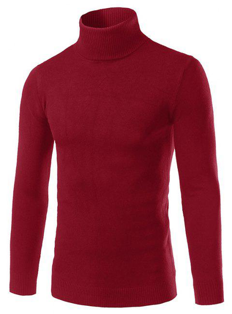 Men'S Fashion Slim Sweater with Pure Color Turtleneck - RED WINE L