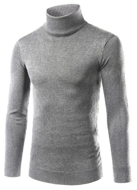 Men'S Fashion Slim Sweater with Pure Color Turtleneck - LIGHT GRAY M