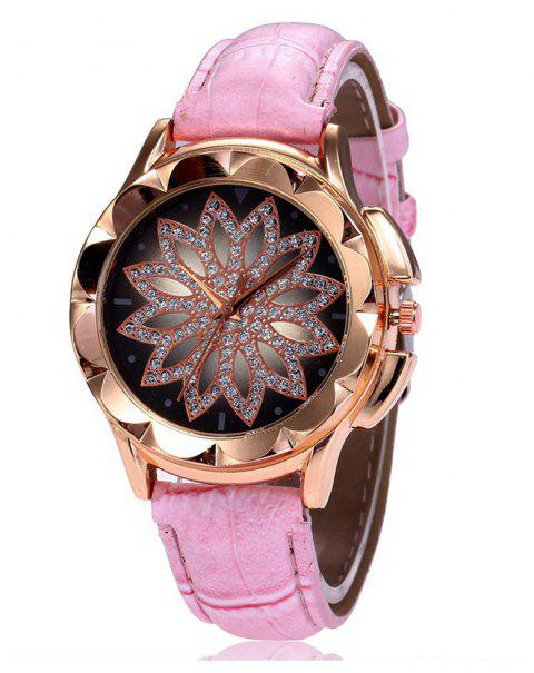 Luxury Fashion Women Sparkle Imitated Diamond Skeleton Dress Watch - PIG PINK
