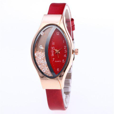 Fashion Luxury Sparkle Diamond Elegant Quartz Dress Watch - RED