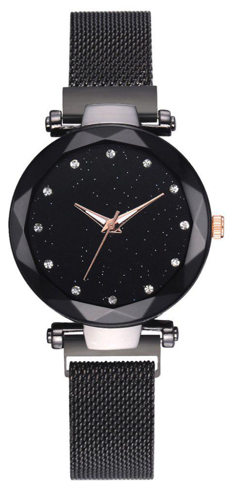 Fashion Luxury Sparkle Elegant Creative Quartz Dress Watch - BLACK