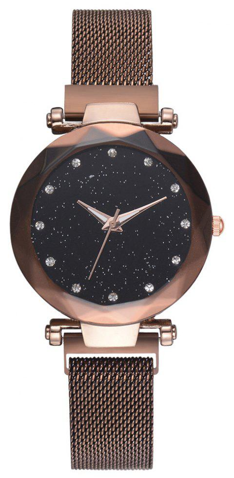 Fashion Luxury Sparkle Elegant Creative Quartz Dress Watch - DEEP BROWN