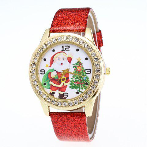 Women Colored Belt Santa Claus Christmas Tree Set with Diamond Watch - multicolor A