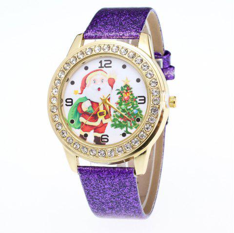 Women Colored Belt Santa Claus Christmas Tree Set with Diamond Watch - multicolor F
