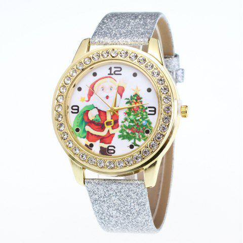 Women Colored Belt Santa Claus Christmas Tree Set with Diamond Watch - multicolor C