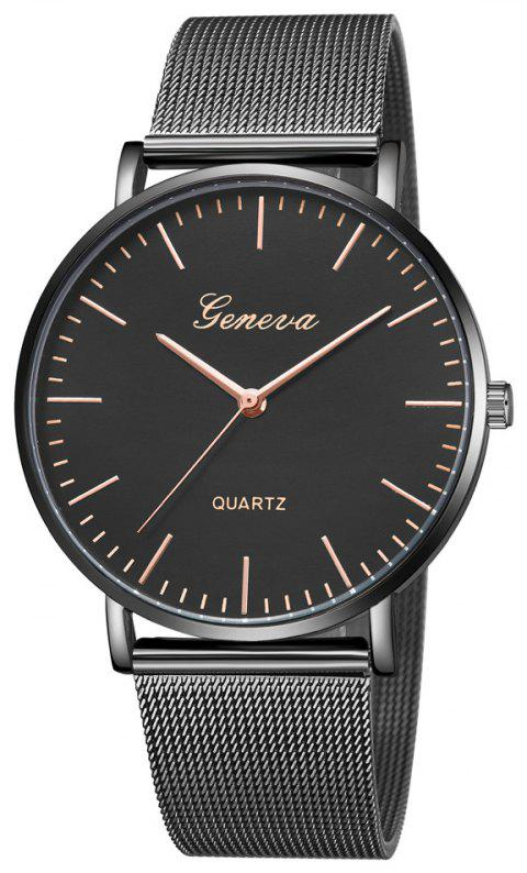 GENEVA Women Brand Simple Casual Classic Quartz Stainless Steel Mesh Wristwatch - multicolor A