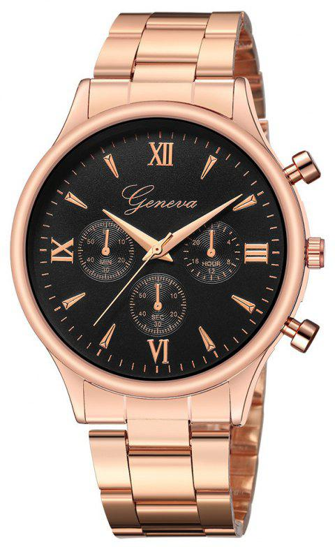 GENEVA Men Luxury Brand Fashion Leisure Business Stainless Steel Quartz Watch - multicolor B