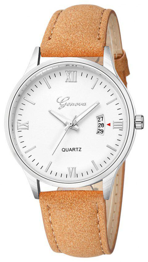 GENEVA Men Fashion Simple Casual Business with Calendar Strap Quartz Watch - multicolor E
