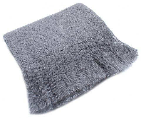 Autumn and Winter Striped Circular Yarn Scarf - GRAY