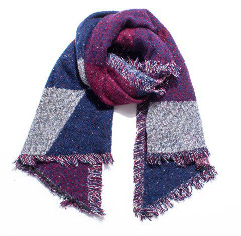 Thickened Women's Checked Scarves with Fluffy Edges - DARK CARNATION PINK