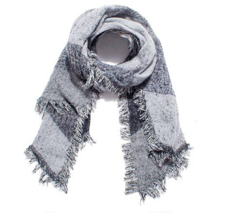 Thickened Women's Checked Scarves with Fluffy Edges - GRAY