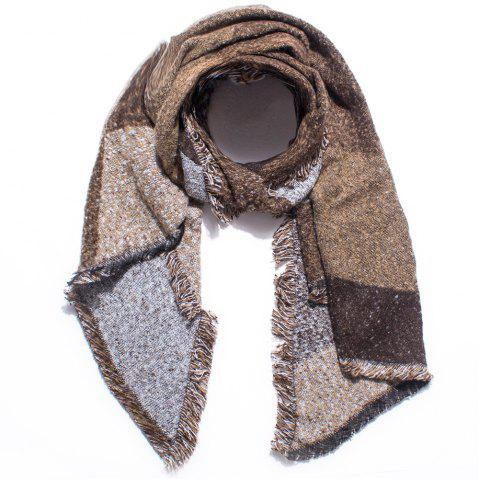 Thickened Women's Checked Scarves with Fluffy Edges - COFFEE