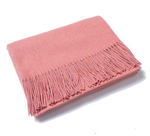 Lovers' Single Color Wool Warm Scarf - BLUSH RED