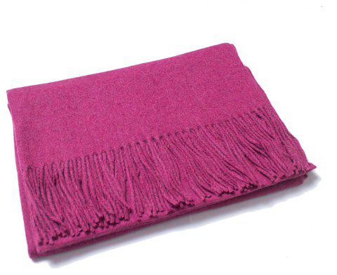 Lovers' Single Color Wool Warm Scarf - ROSE RED