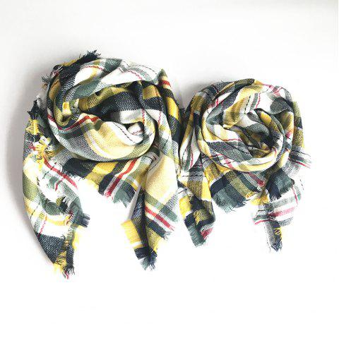 The Soft Parent-Child Scarf - GREEN YELLOW
