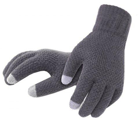 Winter Men Knitted Gloves Touch Screen High Quality Warm Cashmere - GRAY