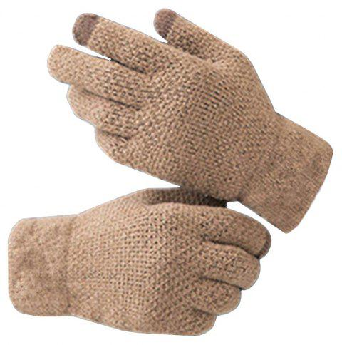 Winter Men Knitted Gloves Touch Screen High Quality Warm Cashmere - TAN