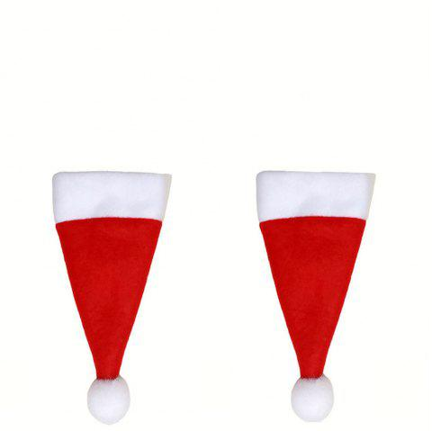 Christmas Silverware Holder Mini Santa Claus Hat Decorations 2PCS - RED