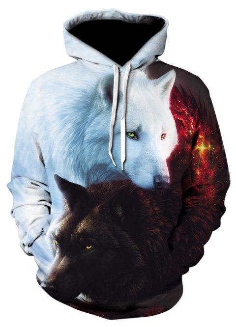 New Fashion Black and White Double Wolf 3D Printed Hoodies - multicolor S