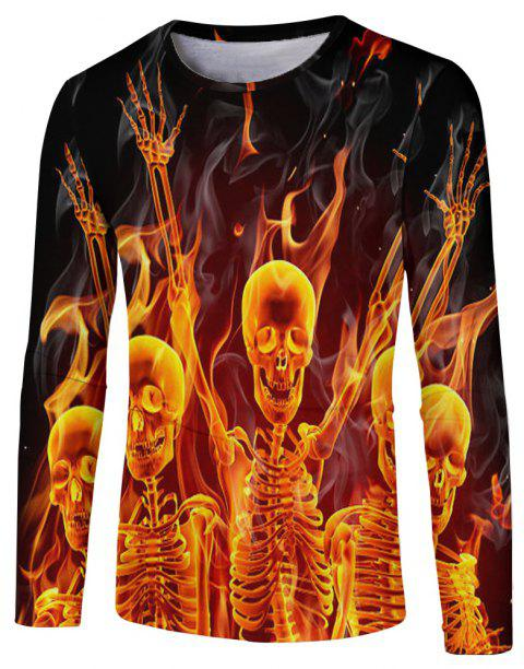New Fashion Casual Autumn and Winter 3D Printed Long T-Shirt - multicolor E XL