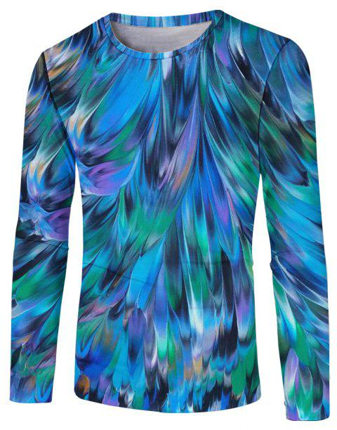 New Fashion Casual Autumn and Winter 3D Printed Long T-Shirt - multicolor C 2XL