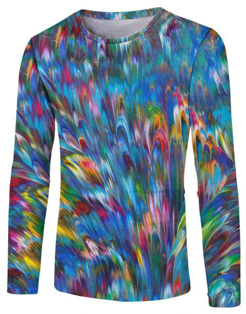 New Fashion Casual Autumn and Winter 3D Printed Long T-Shirt - multicolor D S