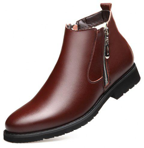 MUHUISEN Fashion Winter Slip On Zipper Motorcycle Boots Casual Warm Shoes - BROWN EU 38