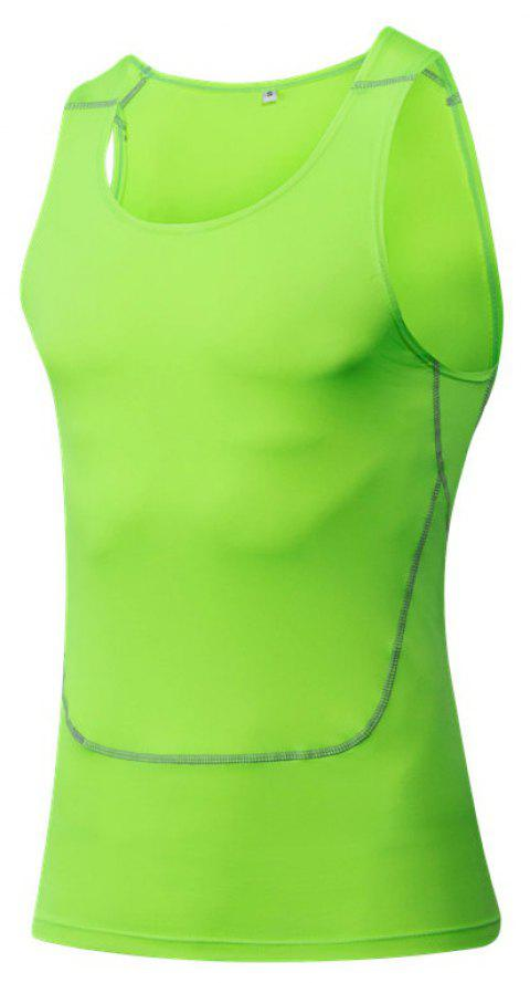 Men's Sports Fitness Running Stretch Wicking Quick-Drying Vest - GREEN M