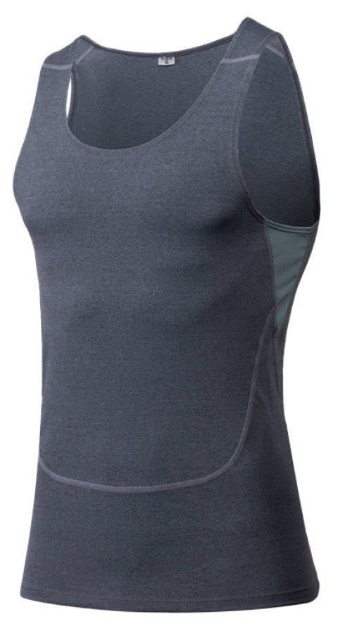 Men's Sports Fitness Running Stretch Wicking Quick-Drying Vest - GRAY L