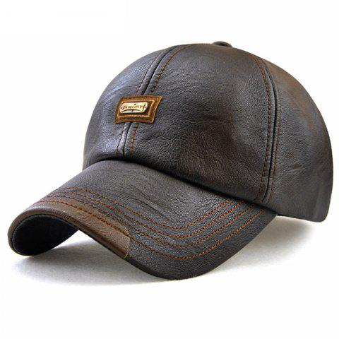Men'S Autumn and Winter New Leather Fashion Simple Wild Baseball Cap - DEEP COFFEE