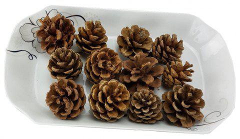 12 Pieces Home Window Simulation Pine Nut Christmas Decoration - DEEP COFFEE 20*15*6CM