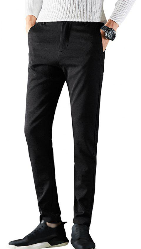 Men Autumn Clothing Fashion Solid Color Business Casual Pants Slim Trousers - BLACK 31