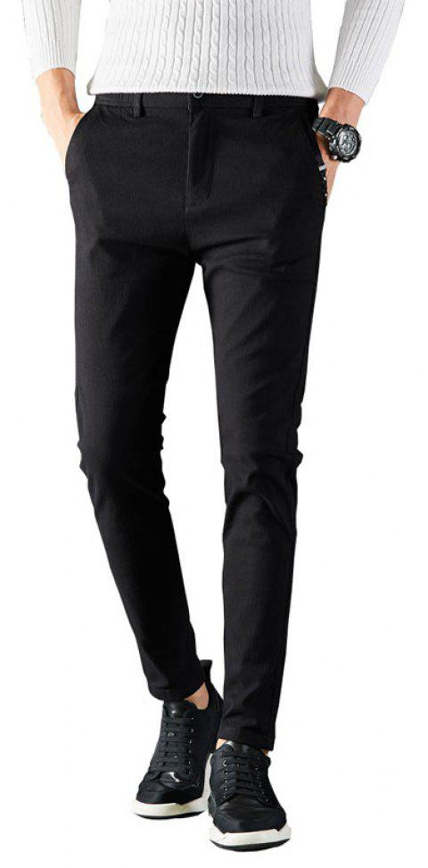 Autumn Men Clothing Under-Dress Pants in Solid Color Dress Business Casual - BLACK 30