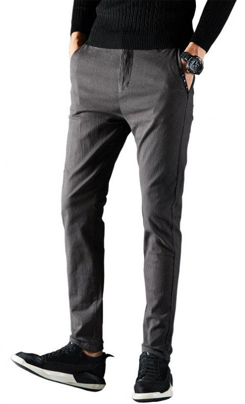 Autumn Men Clothing Under-Dress Pants in Solid Color Dress Business Casual - GRAY 30