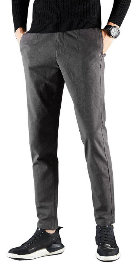 Men Fashion Clothes Autumn Solid Color Business Casual Pants Lower Wear - GRAY 32