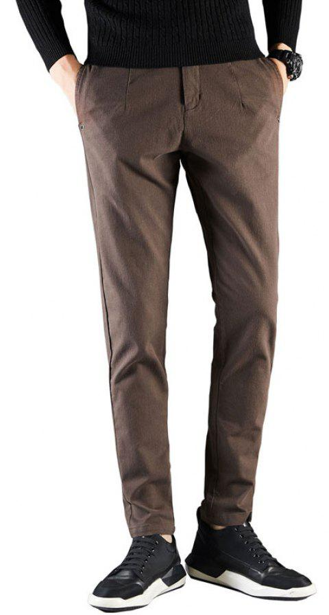 Men Fashion Clothes Autumn Solid Color Business Casual Pants Lower Wear - COFFEE 30