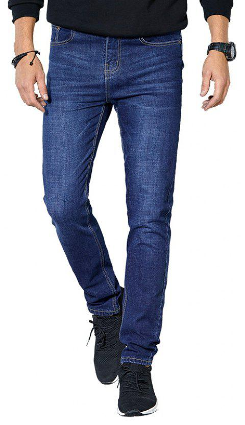 Autumn Clothes Men Casual Pants Trend Solid Color Slim Wash Straight Jeans - DEEP BLUE 28