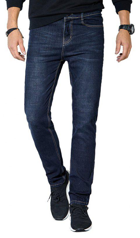 Autumn Clothes Men Casual Pants Trend Solid Color Slim Wash Straight Jeans - DARK SLATE BLUE 33