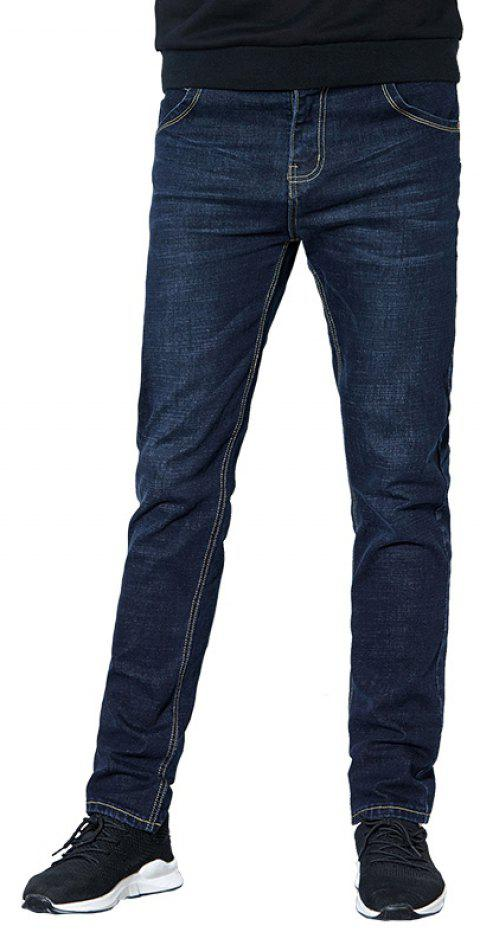Jeans Men Fall Clothing Teens Fashion Straight Business Casual Pants - DARK SLATE BLUE 32