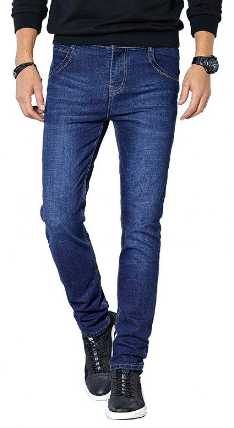 Jeans Men Fall Clothing Teens Fashion Straight Business Casual Pants - DEEP BLUE 36