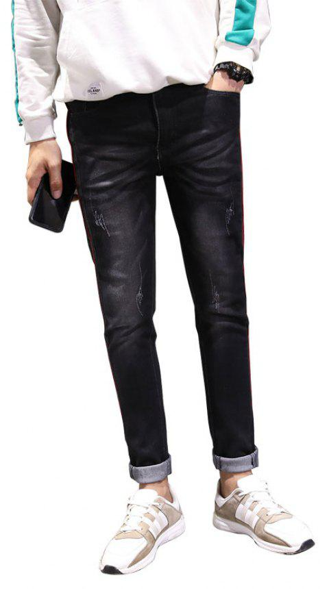 Men Clothes Fall Fashion Teens Trim Jeans Casual Bottom Pants - BLACK 30