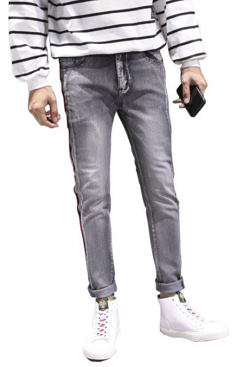 Men Clothes Fall Fashion Teens Trim Jeans Casual Bottom Pants - GRAY 30