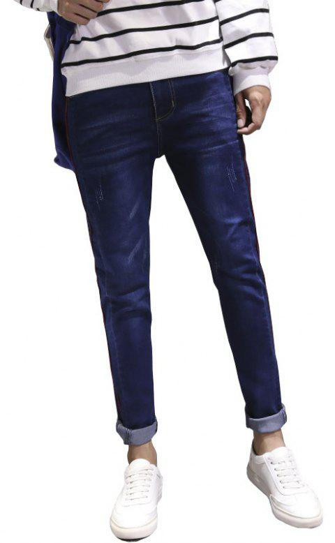 Men Clothes Fall Fashion Teens Trim Jeans Casual Bottom Pants - BLUE 34