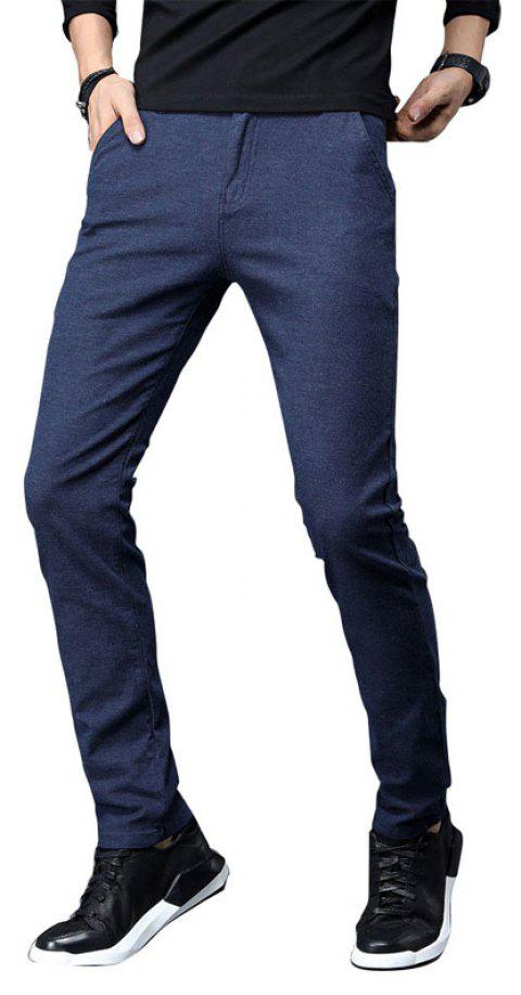 Fall Clothing Men Fashion Below Business Solid Color Casual Pants - DEEP BLUE 30