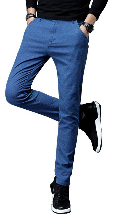 Fall Clothing Men Fashion Below Business Solid Color Casual Pants - CORAL BLUE 28