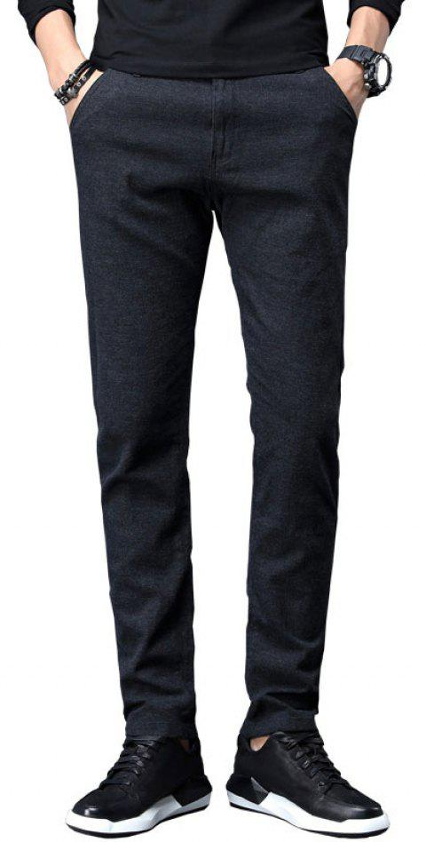 Fall Clothing Men Fashion Below Business Solid Color Casual Pants - BLACK 30