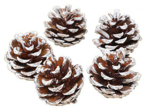 10PCS Wood Pinecone Balls Ornament Christmas Tree Hanging Pine Cones - WHITE 10PCS